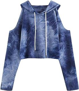 Sudaderas Mujer Tumblr Cortas, LANSKIRT Blusas para Mujer Elegantes Sudadera con Capucha sin Tirantes con Estampadas Camis...