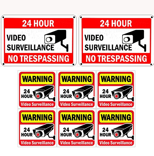 """WISLIFE Home Security Sign Set, 2 (10"""" X 7"""") Aluminum Security Signs & 6 (6"""" X 6"""") Window & Door Stickers, Security Surveillance Signs"""