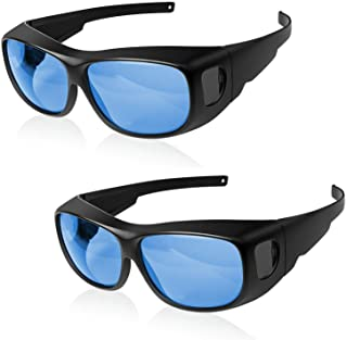 iPower GLGLSSBLUEV2X2 2-Pack Indoor Hydroponics HPS MH Grow Room Glasses for Tent Anti-UV Googles Visual Eye Protection, B...