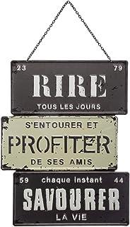 Atmosphera - Décoration en Métal Rétro et Vintage à Suspendre 26 x 34 cm