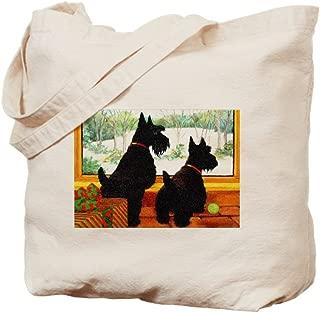CafePress A Scotty Dog Christmas Natural Canvas Tote Bag, Reusable Shopping Bag