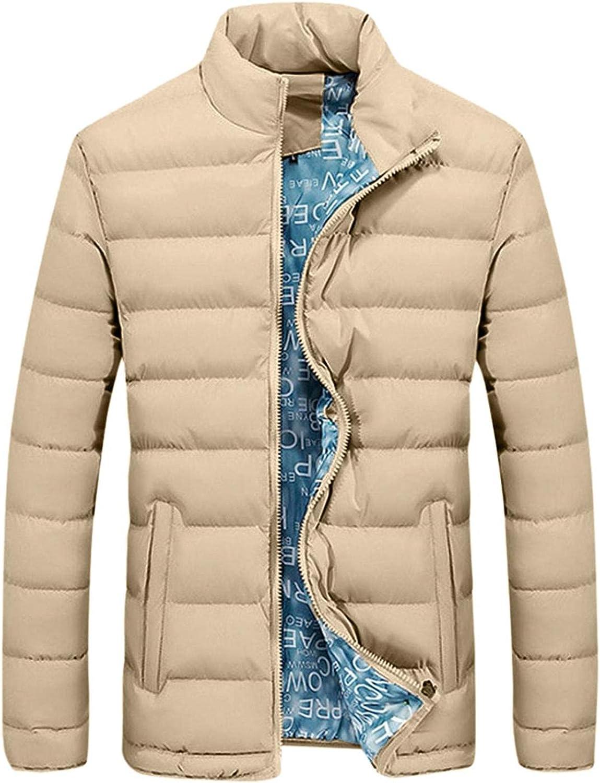XUNFUN Men's Ultra Light Weight Down Jackets Solid Color Stand Collar Packable Short Puffer Jacket Windproof Winter Coats