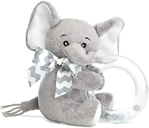 Bearington Baby Lil' Spout Plush Stuffed Animal Gray Elephant Shaker Toy Ring Rattle, 5.5 inches
