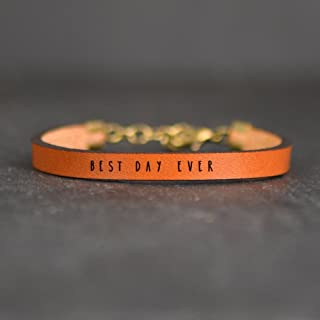 Best Day Ever Brown Leather Quote Bracelet | by Laurel Denise