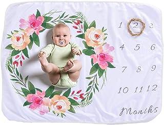 Beauenty Baby Monthly Milestone Blanket For Girl Boy Floral Deer Horn Frame Newborn Photo Prop Background