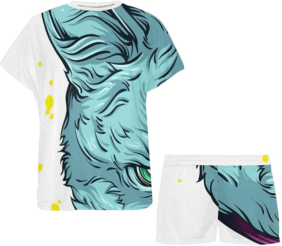 INTERESTPRINT Cat Unicorn Women's Breathable 2 Piece Shorts Pajama Sleepwear Set