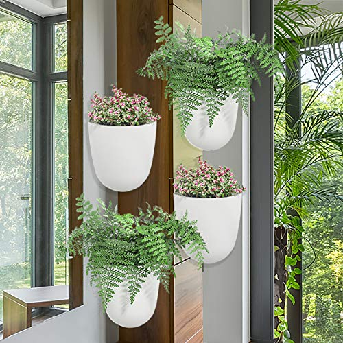 Sungmor Corner Planter Wall Mounted Plant Pots – Self Watering Vertical Hanging Planters – 4PC White Pack – Right Angle Flower Pots Plant Containers – Great Home Office Kitchen Wall Corner Decor Pots