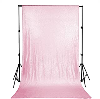 B-COOL Pink Shimmer Backdrop 4ftx6.5ft Newborn Baby Shower Photography Backdrop Glitter Sequin Backdrop Curtain