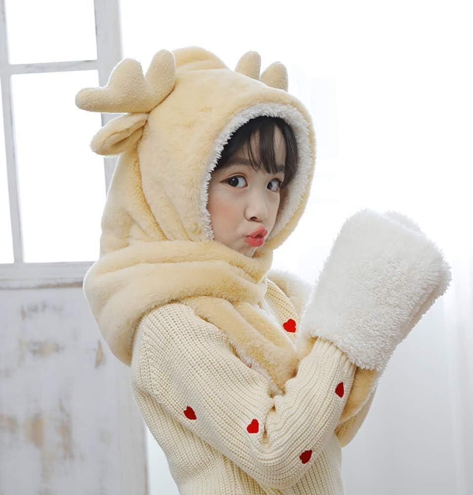 JEEKOS Scarf hat Gloves Three-Piece Winter Atlanta Mall Time sale Cute Fawn Autumn and