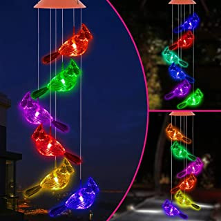 ME9UE Color Changing LED Cardinal Wind Chimes Gift Portable Waterproof Mobile Romantic Cardinals Windchime Lights, Solar C...