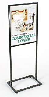 Displays2go Floor Sign Holder Stand with Glossy Black Finished Metal Exterior for 22 x 28 Inches Inserts (TWN2228BLK)