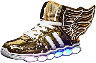 Hopscotch Boys PU Mesh Glossy Lace Up USB Rechargeable LED Shoes in Gold Color