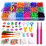 YITOHOP Rainbow Color Rubber Loom Bands Refills Kit Set Storage Box for Kids Party DIY Crafting Bracelets Toys Gifts -Including 5800 Pcs Rubber Loom Bands 300 Pcs Slips 100 Beads 15 Charms and More