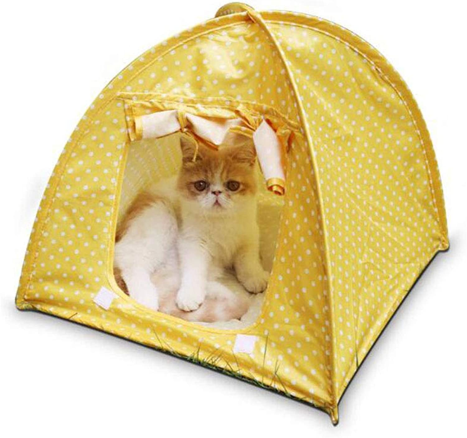 FH Collapsible Pet Tent Puppy Cat House Mosquito Cat Litter Cat Tent (color   Yellow)