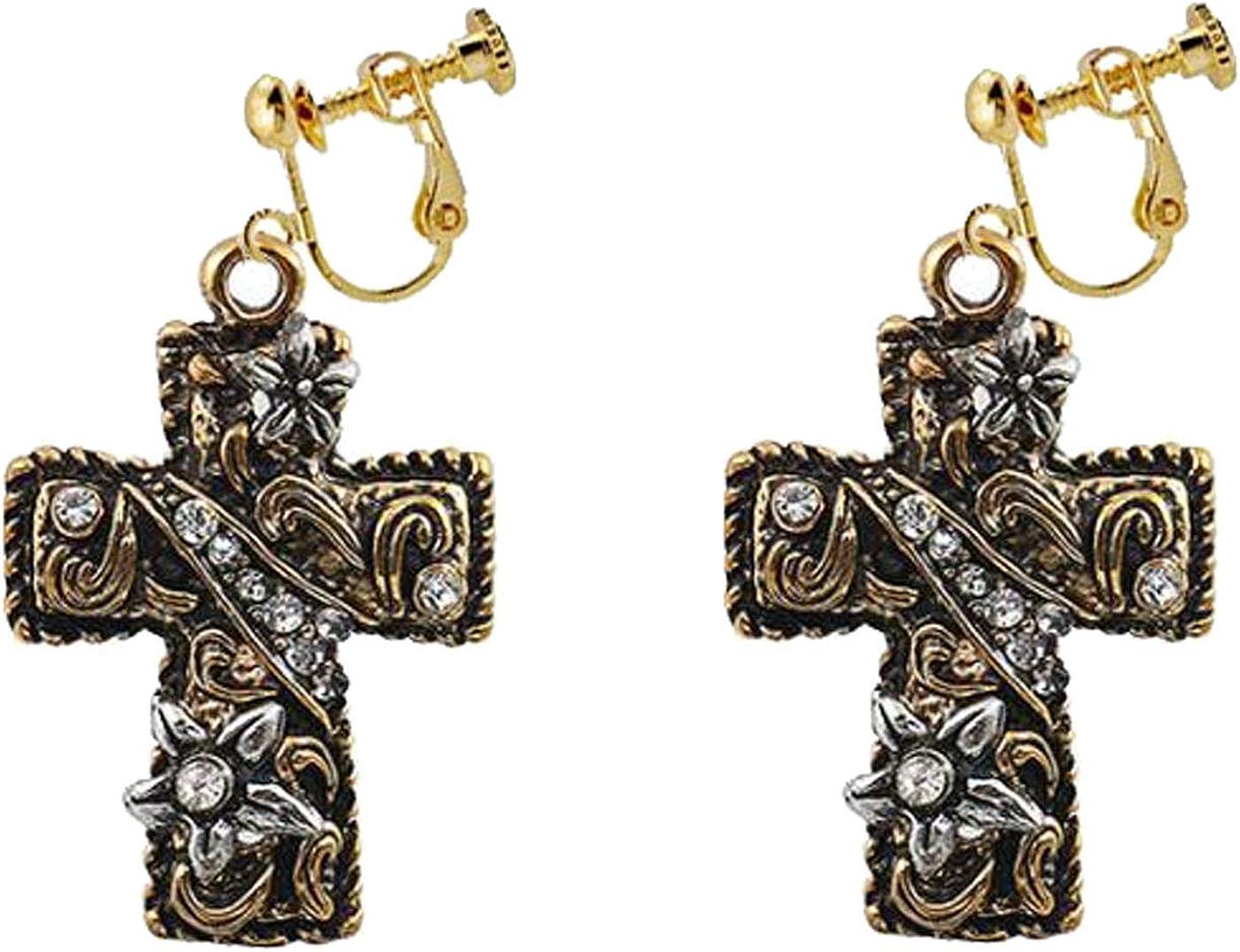 Boho Clip on Earrings for Women Girls Metal Cross Dangle Crystal Flower Drop Crucifix Tassel for Non Pierced