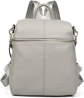 BOSTANTEN Geniune Leather Fashion Backpack Purse Casual School Bags for Women LightGray