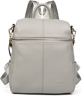 BOSTANTEN Geniune Leather Fashion Backpack Purse Casual School Bags for Women LightGray
