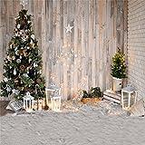 YongFoto 2,5x2,5m Vinilo Fondo de Fotografia Navidad Árbol Luces brillantes Linterna Alfombra Ric Tablón de madera Interior Telón de Fondo Fiesta Adulto Retrato Personal Estudio Fotográfico Accesorios