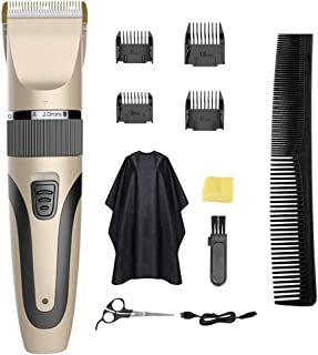 Professional Hair Clippers for Men Rechargeable Cordless Clippers Hair Trimmer Beard Shaver Electric Hair Cutting Machine Kit Waterproof Family use (Gold)