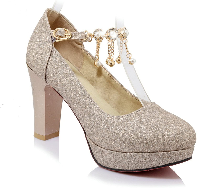 Heeled Sandals Women Platform Ankle Strap High Heel Pumps Round Toe Wedding Party Tassels shoes