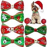 FANDE Collar de Navidad Perro, Pajarita de Mascotas de Navidad, 6 Piezas de Pajarita de Mascotas Corbata Ajustable Collar de Perro Formal, Lacitos Navideños para Cachorro y Gatito