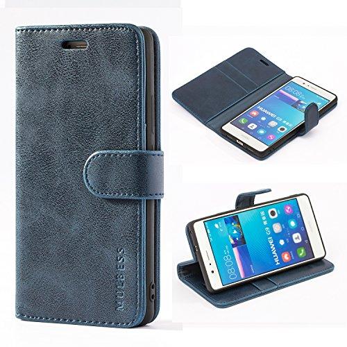 Mulbess Handyhülle für Huawei P9 Lite Hülle Leder, Huawei P9 Lite Handy Hülle, Vintage Flip Handytasche Schutzhülle für Huawei P9 Lite Hülle, Navy Blau