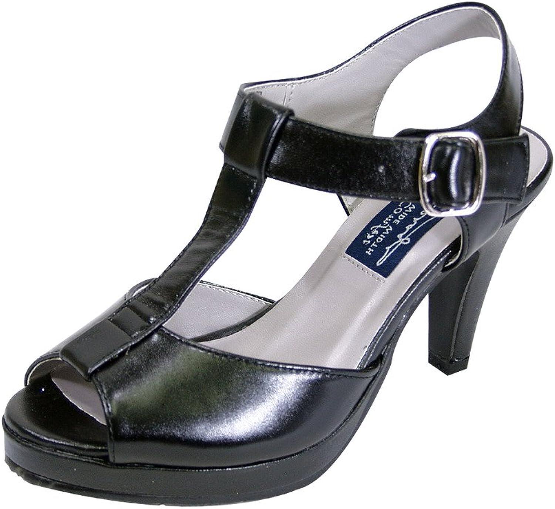 Peerage FIC Margie Women Extra Wide Width Platform Heeled Sandal Black 8.5