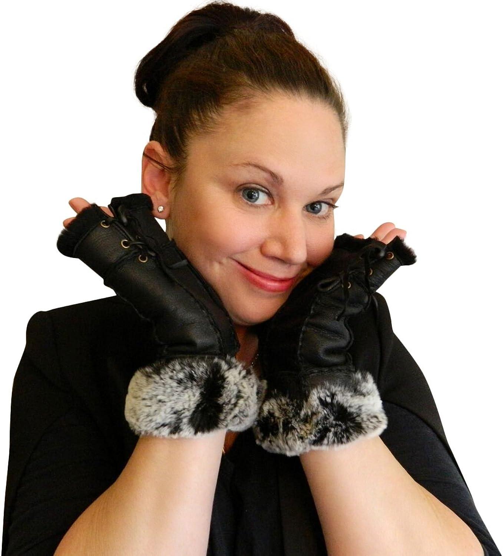 Women's Napa Leather Genuine Shearling Sheepskin Fingerless Gloves