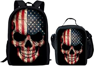 UNICEU American Flag Skull Backpack with Thermal Lunch Bag Set for Boys Elementary Primary Student School Bags