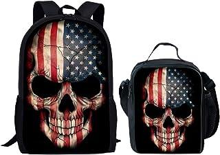 USA Flag Skull School Backpack Lunch Bag Cooler Box Satchel Bookbag Set
