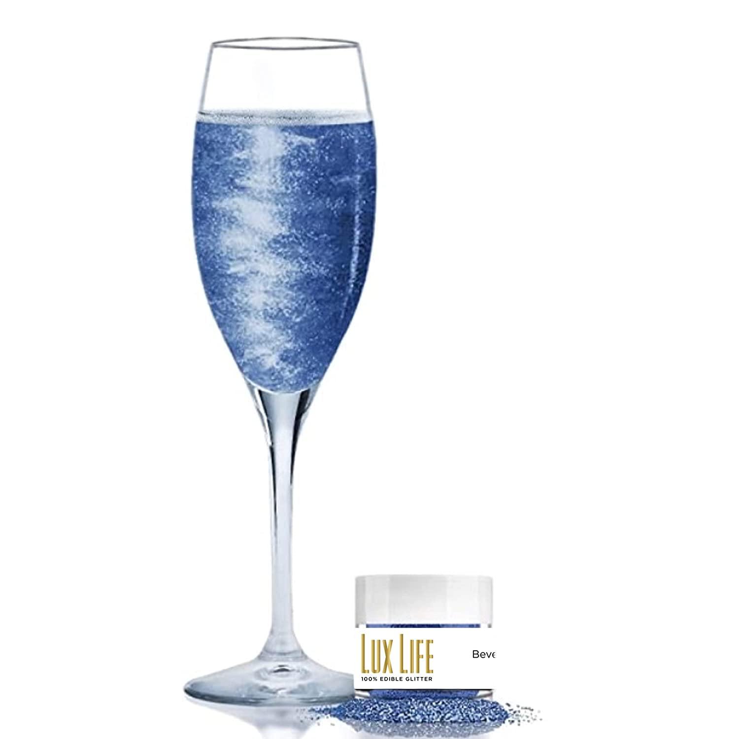 Lux Life USA Manufactured Shinny Glitter, Beverage Dust for Cocktails, Shimmer Glitter for Brew for Wine, Cocktails, Champagne100% Edible & Food Grade, (Blue, 4 Grams)