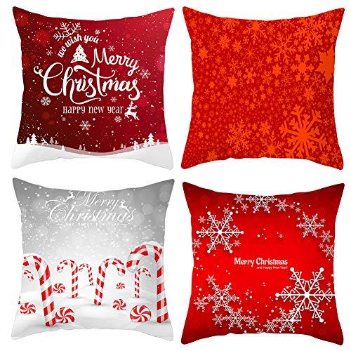 Throw Pillow Covers 18'x18' Set of 4 Christmas Farmhouse Home Decor Pillowcases Polyester Cushion for Sofa Countryside Couch Hidden Zipper