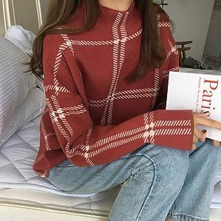 BINGSL JerséIs SuéTer,Suéter de Punto Vintage para Mujer, Cuello Alto, suéteres a Cuadros de Manga Larga, Tops Casuales Su...