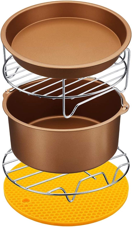KUNSE 6Pcs Antihaftluftzug-Zubehr Set 7 Inch Cake Pizza BBQ Braten Backwerkzeuge Für 3.2-5.8Qt