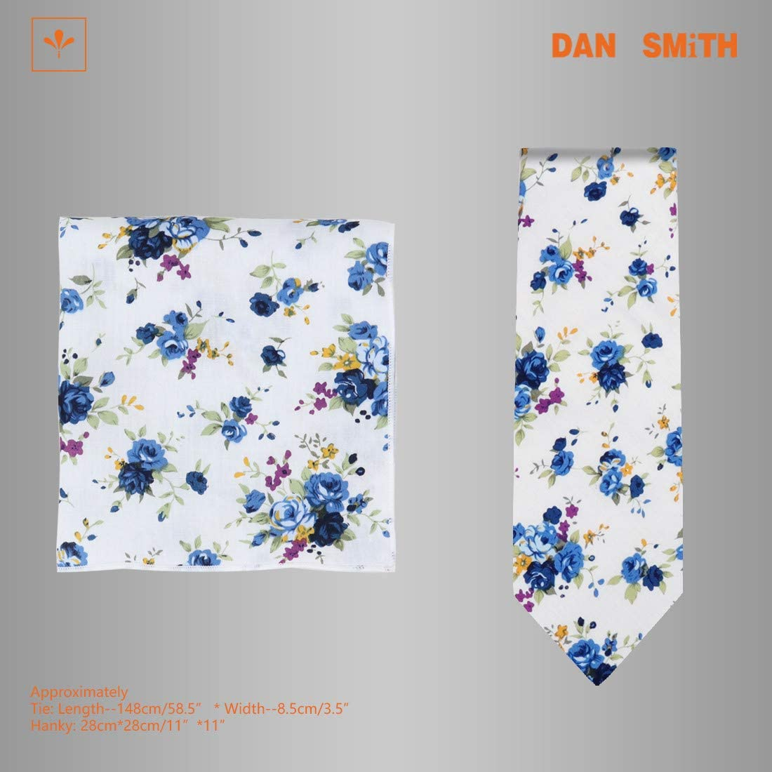 Dan Smith Men's Fashion Cotton Tie Matching Hanky Avaliable, with Box
