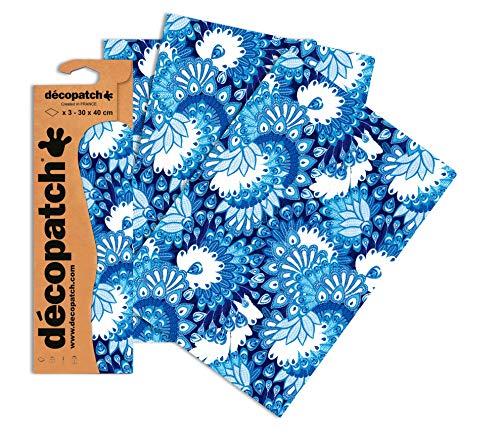 Decopatch Papier No. 579 (blau weiß Pfauenfeder, 395 x 298 mm) 3er Pack