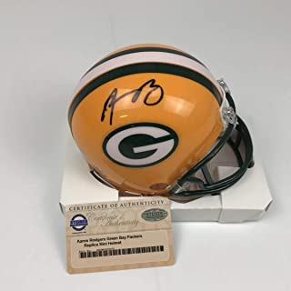 Autographed/Signed Aaron Rodgers Green Bay Packers Football Mini Helmet Steiner Sports COA