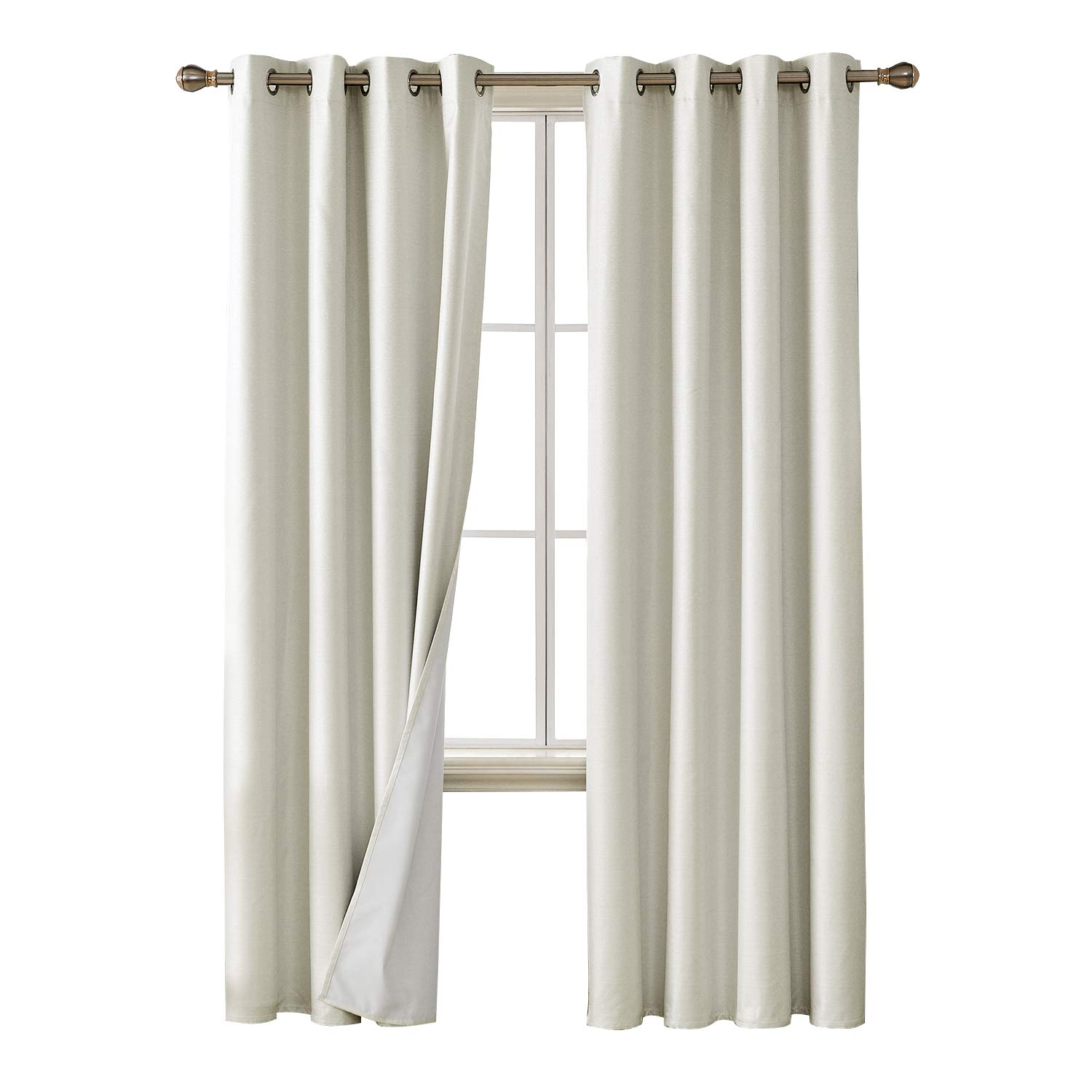 Deconovo Faux Linen Blackout Curtains With 3 Pass Coating Sun Blocking Thermal Insulated Room Darkening Grommet Curtains Panels For Bedroom 52 X 84 Inch 2 Panels Cream White Buy Online In