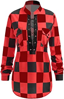 CharMma Women's Plus Size Stand-up Collar Long Sleeve Plaid Lace up Shirt