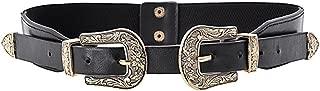 MoYoTo Womens Retro Carved Double Buckle Elastic Belts Western Leather Flex Belt
