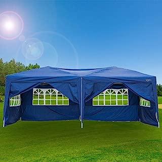 VINGLI 10X20 Feet Pop Up Canopy,Instant Tent,6 Removable Sidewalls,Folding EZ Up Canopy Tent,Patio Event Gazebo Beach Tent,UV Coated&Waterproof, Bonus Wheeled Carry Bag Blue