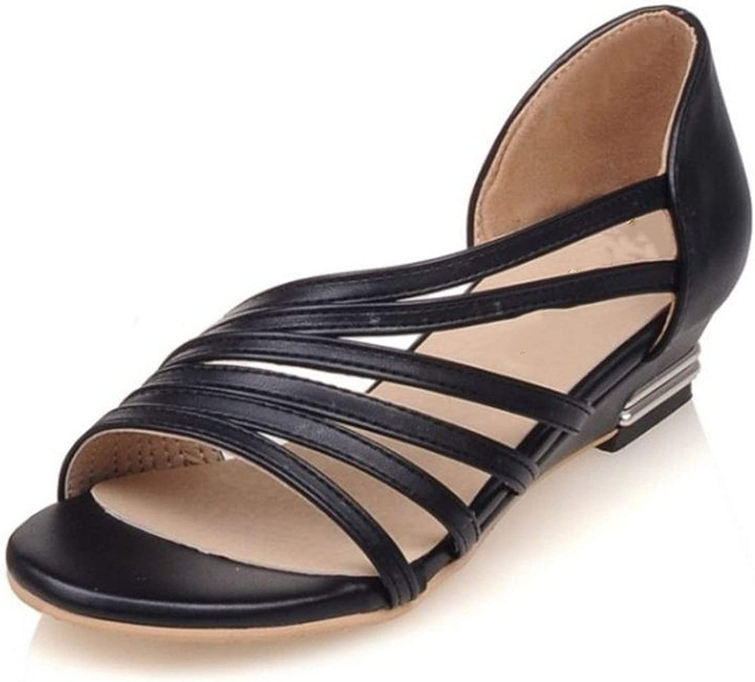 Fairly Flats Peep Toe shoes Cross Strap Solid color All Match Flat Vintage s,Black,10.5