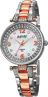 August Steiner Diamond Markers Women's White Stainless Steel Band Watch - AS8137TTR