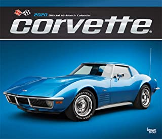 Corvette 2020 12 x 14 Inch Monthly Deluxe Wall Calendar with Foil Stamped Cover, Chevrolet Motor Muscle Car