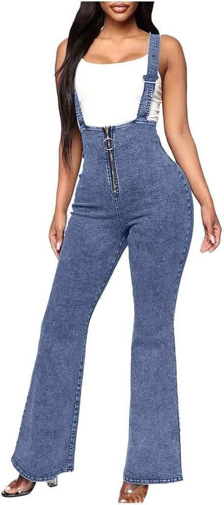 Spasm price HebeTop Women's Skinny Leg Distressed Pocket Jean Denim Overalls Manufacturer direct delivery