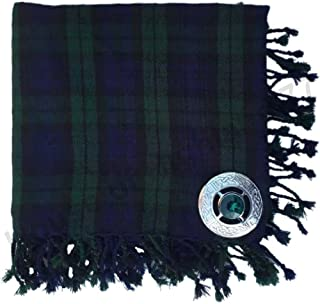 Brand New Men's Kilt Fly Plaid with Stone Brooch in Different Tartans Colours