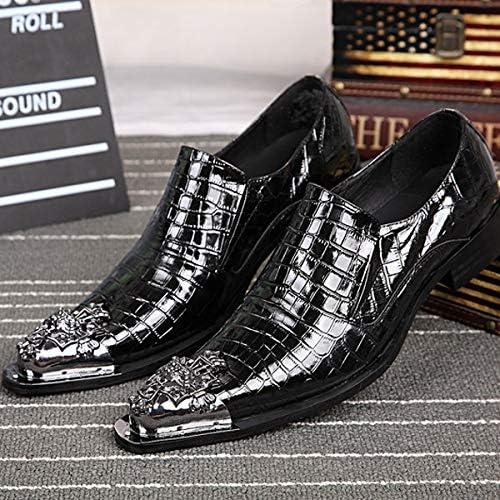 LOVDRAM Chaussures en Cuir pour Hommes Chaussures en Cuir De Crocodile Pointu Chaussures pour Hommes en Cuir Dentelle en Cuir Verni De Mode Robe De Mode des Hommes en Cuir Chaussures Marée
