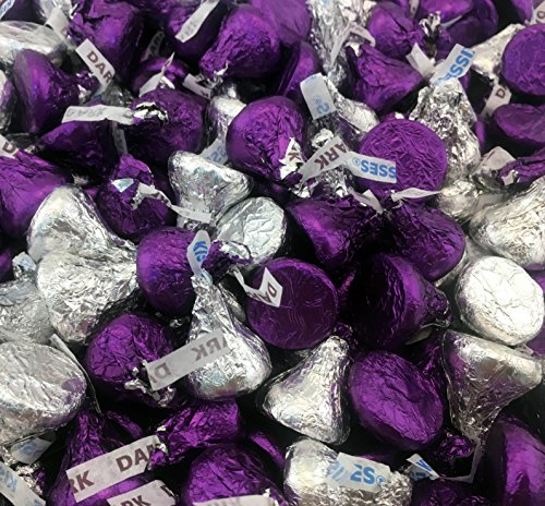 Hershey's Kisses, Mix Milk Chocolate and Dark Chocolate Kisses Purple, Silver Foil (Pack of 2 Pound)