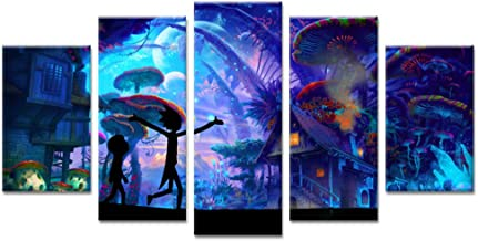 5 Pieces Rick and Morty Poster Prints on Canvas Unframed Living Room Wall Decoration Art Pictures
