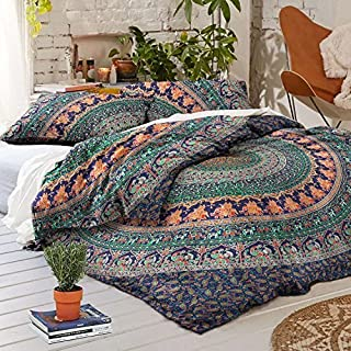 THE ART BOX Green and Blue Mandala Indian Duvet Cover Bedding Cotton Duvet Cover Set Queen Size 85x90 Inches